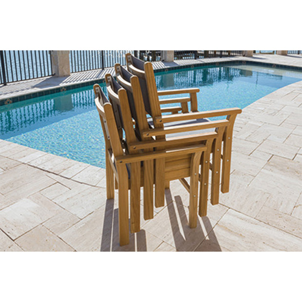 9 Piece Teak Dining Set with Stacking Dining Chair