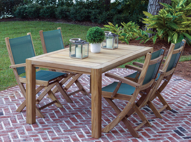 5 Piece Teak Dining Set with Folding Dining Chair