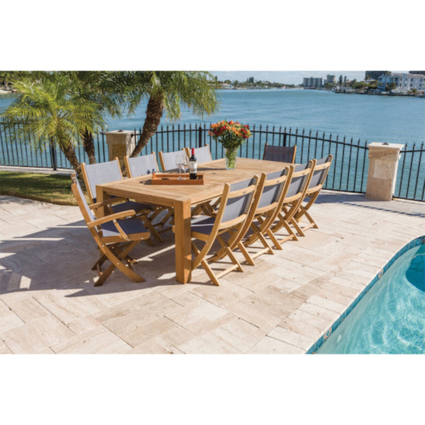 11 Piece Teak Dining Set with Folding Dining Chair
