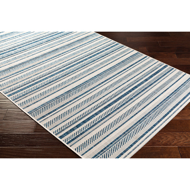Eagean Outdoor Rug in Blue Stripe