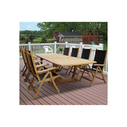9 Piece Teak Dining Set with Folding Dining Chair