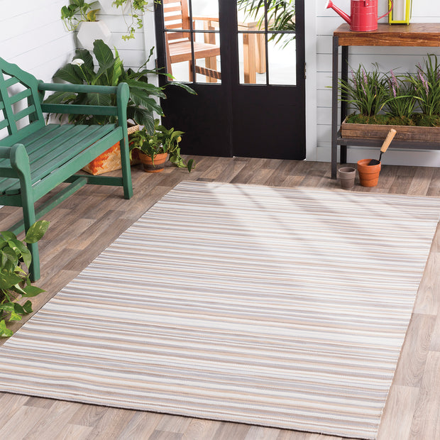 Maritime Outdoor Rug in Pastel Stripe