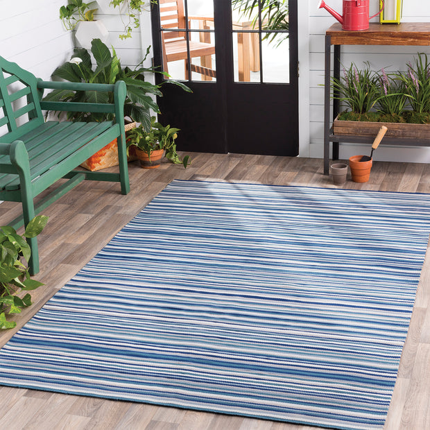 Maritime Outdoor Rug in Blue Stripe