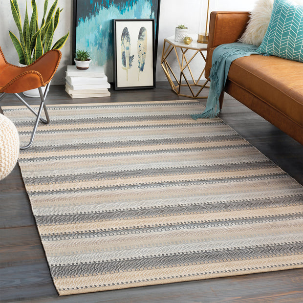 Maritime Outdoor Rug in Neutral Stripe