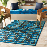 Portera Outdoor Rug in Geometric Blue