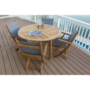 5 Piece Teak Round Dining Set with Sling Armchair