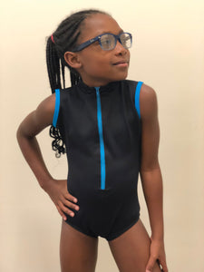 Child Microfiber Zipper Front Leotard