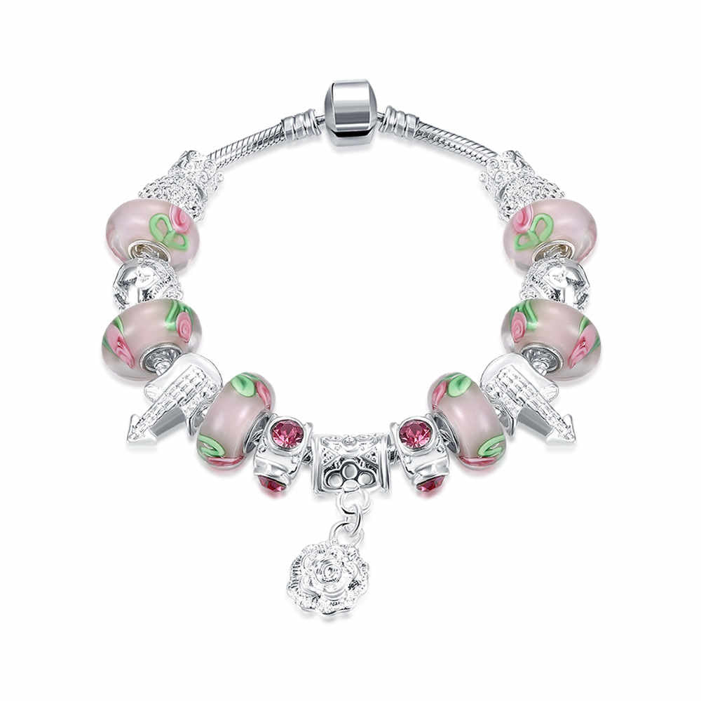 LUIISA Gifts Silver Plated Bracelet European Glass Charm Beads