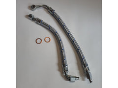 Porsche 356 Pre A Inlet and Outlet oil line kit period correct Blue chrome braid