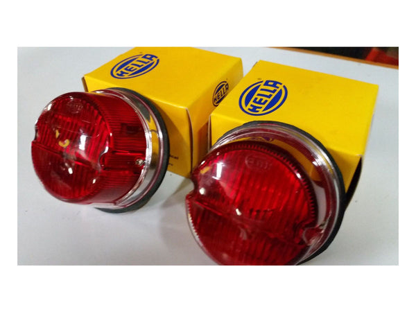 Porsche 911, R,S,ST Brake/Parker Tail lights, Original Hella with chrome Bases