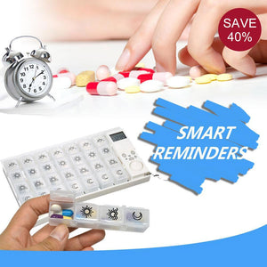 7 Days Medicine Pill Organizer with Timer Reminder, 4 Times a Day Alarm Clock