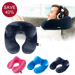 Comfortable Sleep - Inflatable U-Shape Travel Neck Pillow for Airplane
