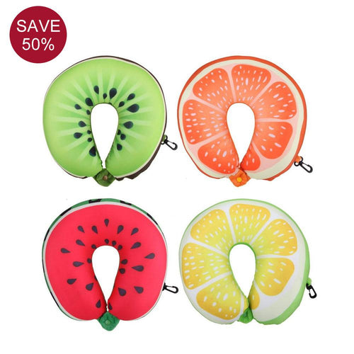 Fruit U Shaped Inflatable Airplane Pillow for Long Flights