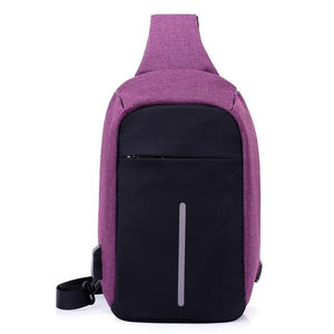 Single Shoulder Anti Theft Backpack USB Rechargeable