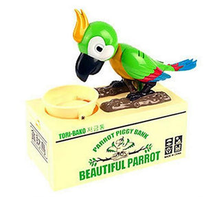 Lovely Parrot Saves Money Coin Bank