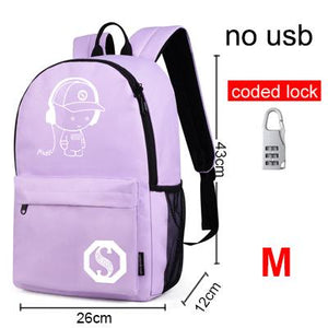 Raged Sheep School Backpack Student Luminous Animation School Bags For Teenager  USB Charge Computer Anti-theft Laptop Backpack