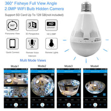 360 degree Wifi LED Bulb Light Security Spy Camera
