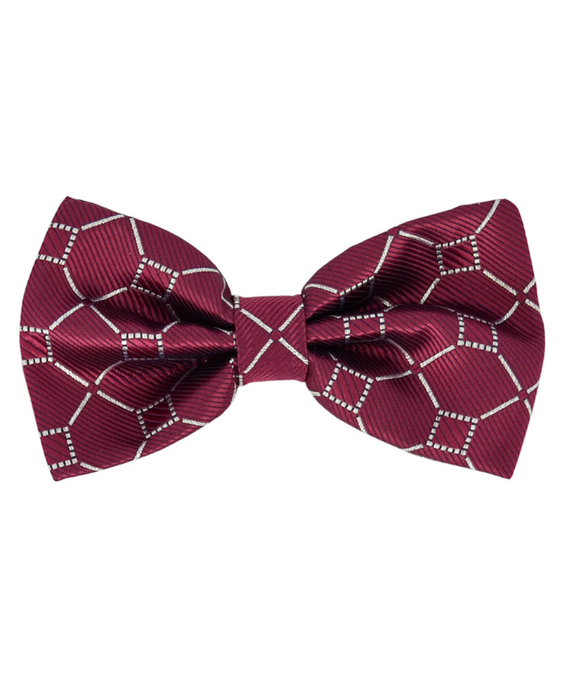 Formal Burgundy and Silver Pattern Men's Bow Tie - tiepassion