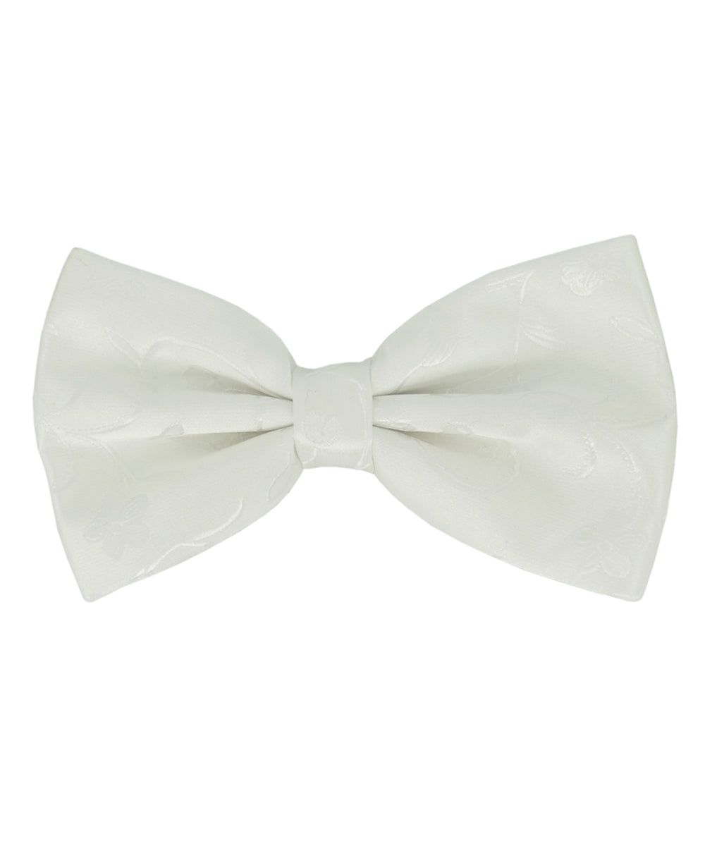Elegant White Floral Pattern Men's Bow Tie - tiepassion