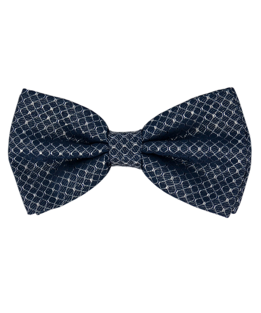 Formal Blue and Silver Checkered Pattern Men's Bow Tie - tiepassion