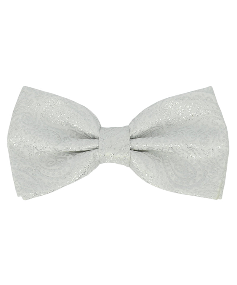 Formal White and Silver Paisley Pattern Men's Bow Tie - tiepassion