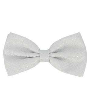 Formal White and Silver Checkered Pattern Men's Bow Tie - tiepassion