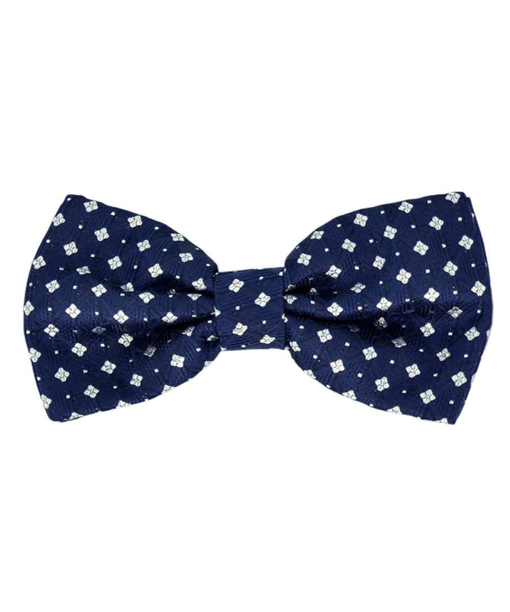 Formal Navy Blue and Silver Diamond Pattern Men's Bow Tie - tiepassion