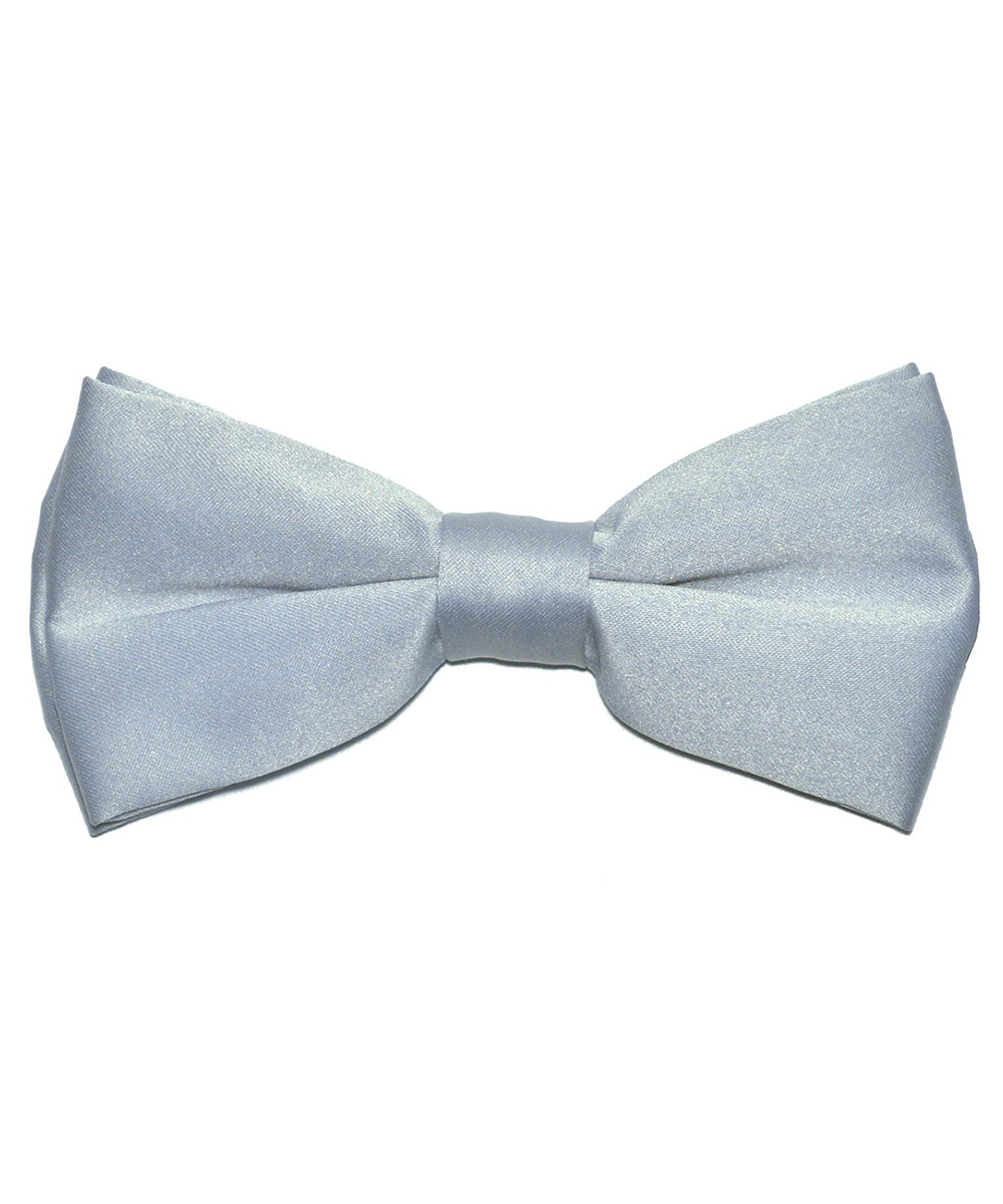 Solid Silver Men's Formal Bow Tie - tiepassion