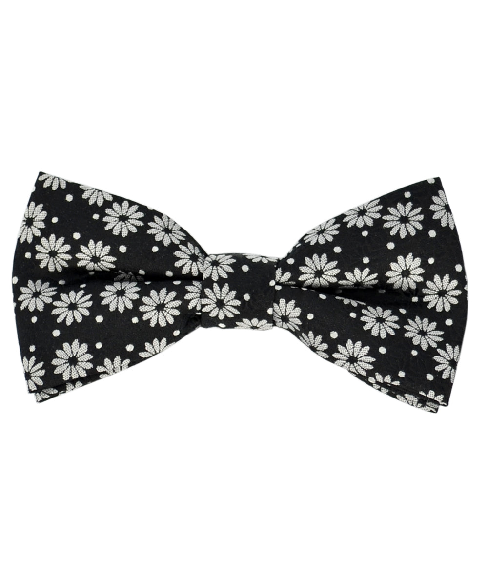 Stunning Black and Silver Daisy Pattern Men's Bow Tie - tiepassion