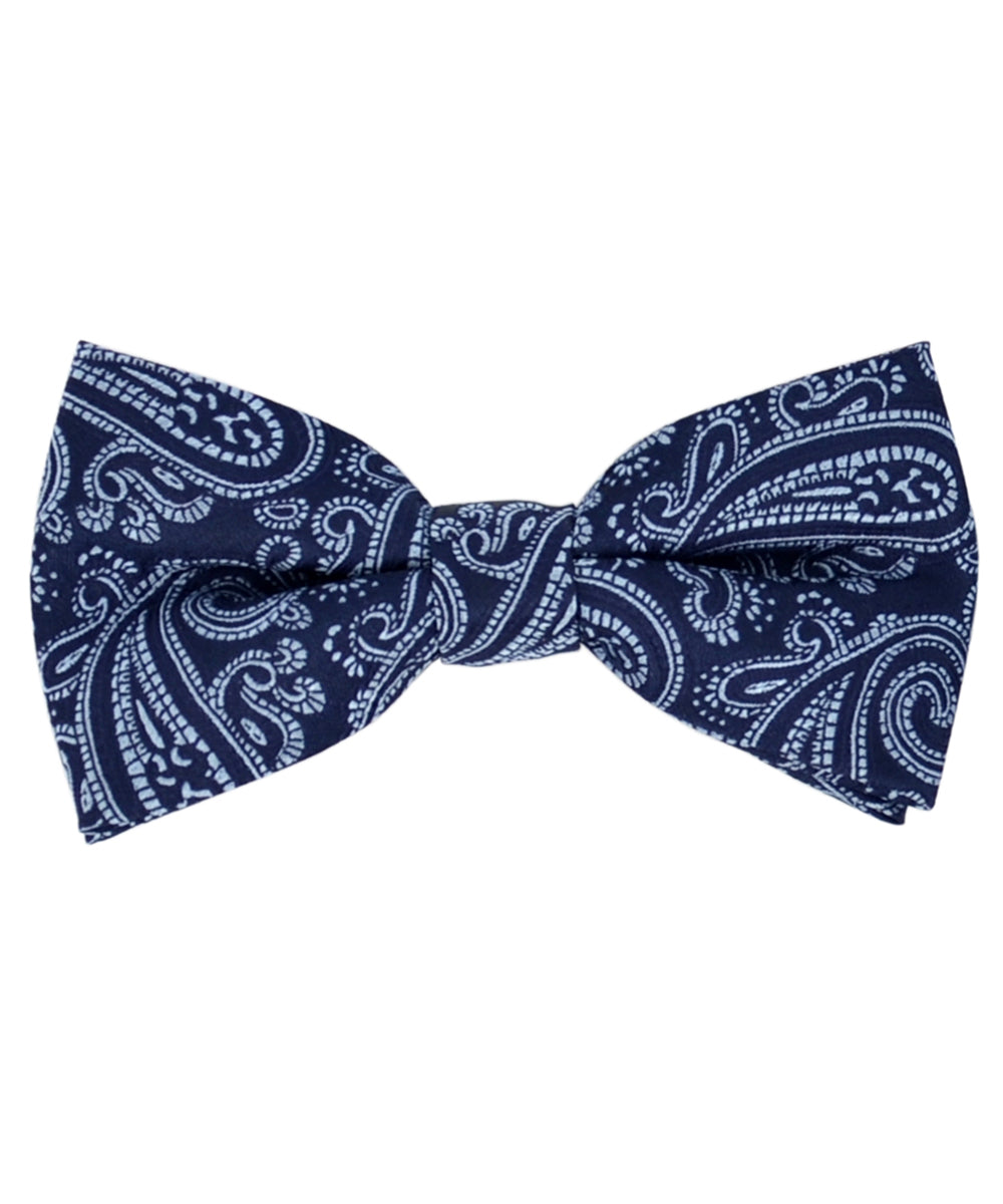 Formal Navy and Blue Paisley Pattern Men's Bow Tie - tiepassion