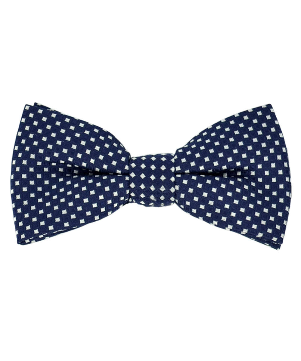 Formal Navy Blue and Silver Checkered Pattern Men's Bow Tie - tiepassion