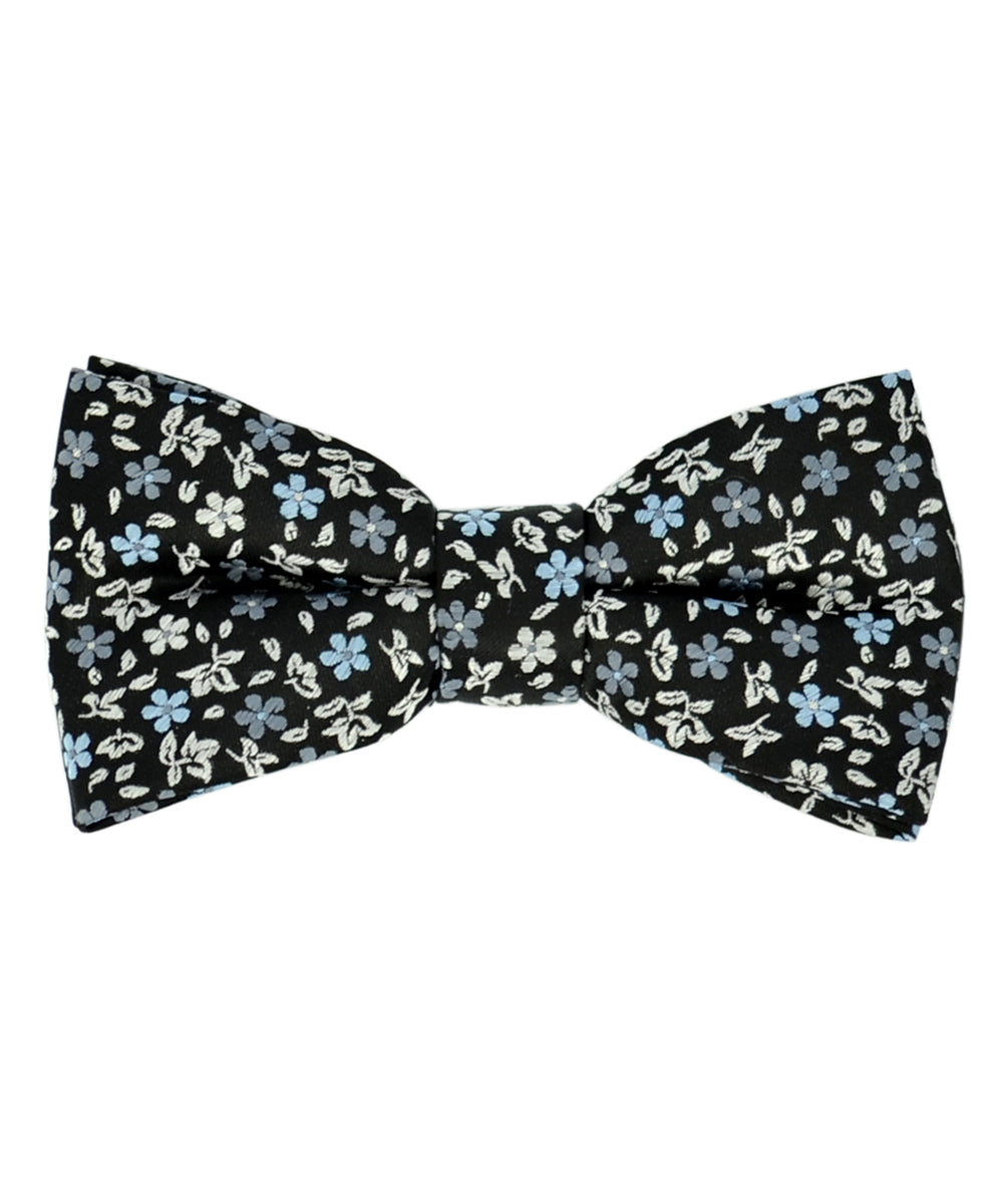Exciting Black, Blue and Beige Floral Pattern Men's Bow Tie - tiepassion