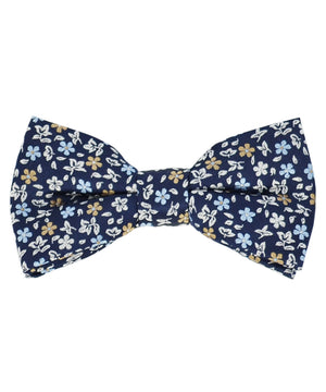 Exciting Navy, Blue and Beige Floral Pattern Men's Bow Tie - tiepassion