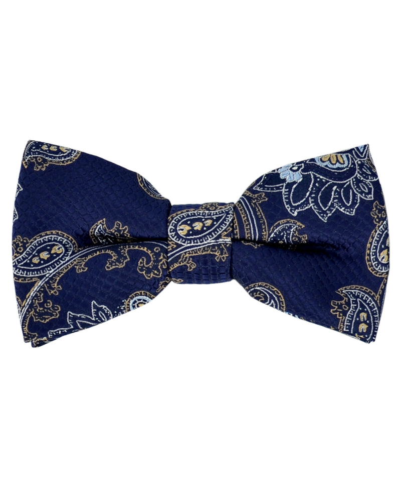Formal Navy and Gold Paisley Pattern Men's Bow Tie - tiepassion