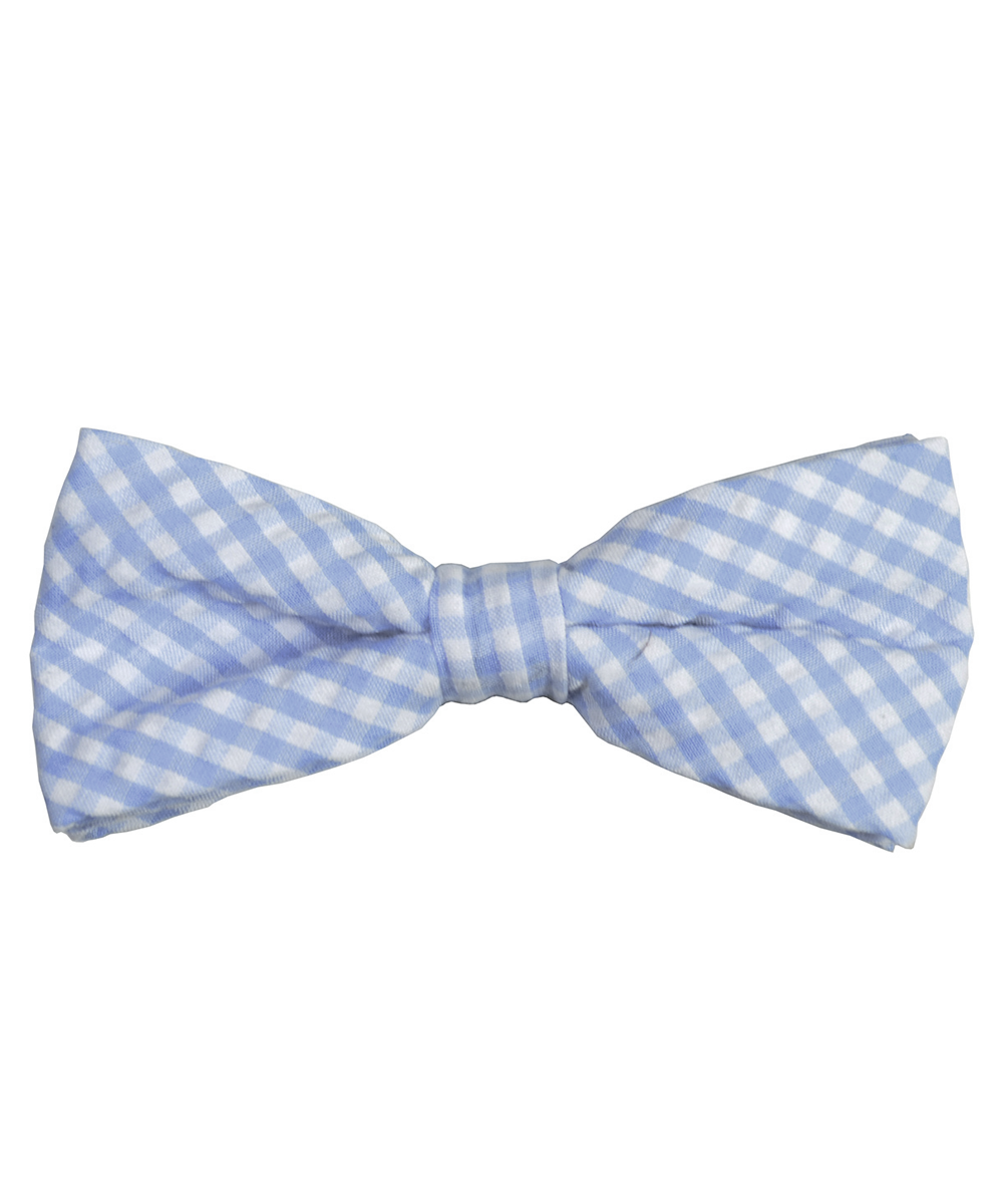 Blue and White Plaid Cotton Bow Tie - tiepassion