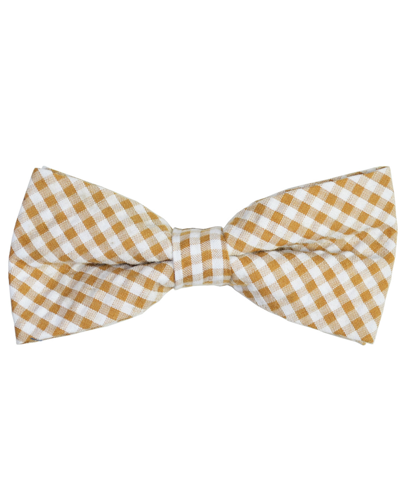 Tan and White Plaid Cotton Bow Tie - tiepassion
