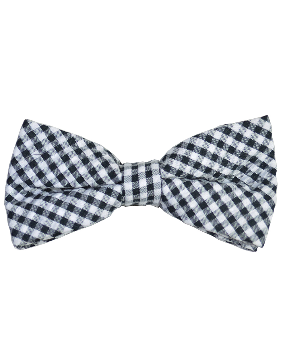 Black and White Plaid Cotton Bow Tie - tiepassion