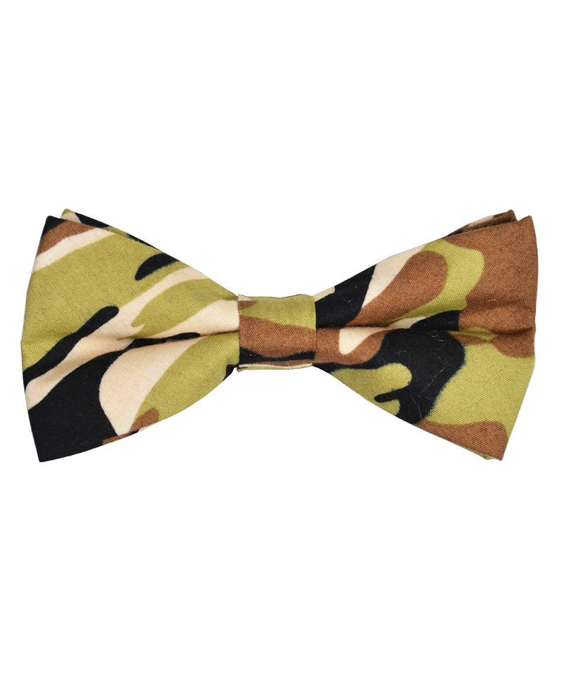 Olive and Brown Camouflage Cotton Bow Tie - tiepassion