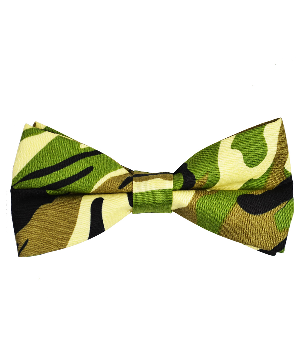 Olive Green Camouflage Cotton Bow Tie - tiepassion