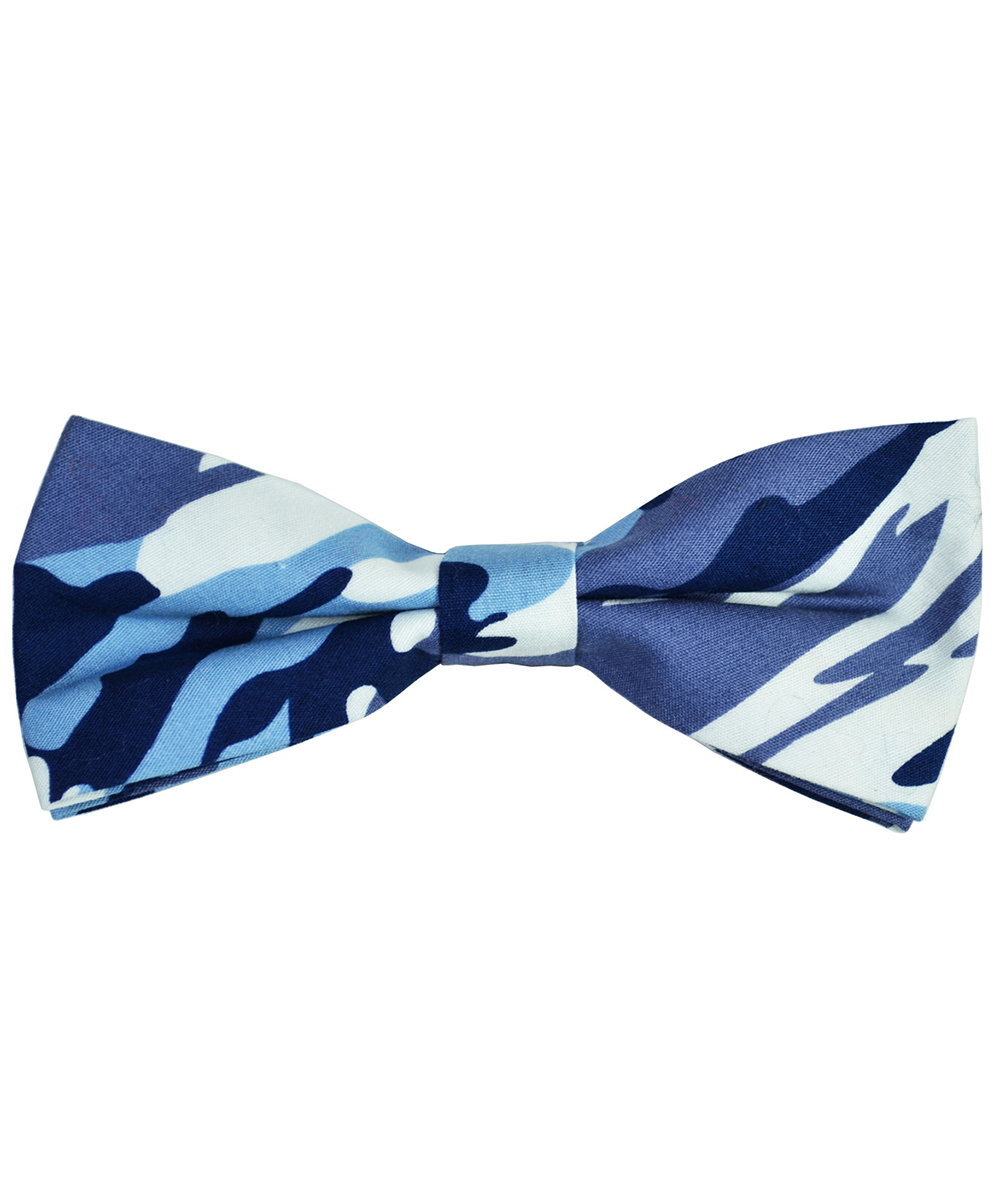 Navy Blue Camouflage Cotton Bow Tie - tiepassion
