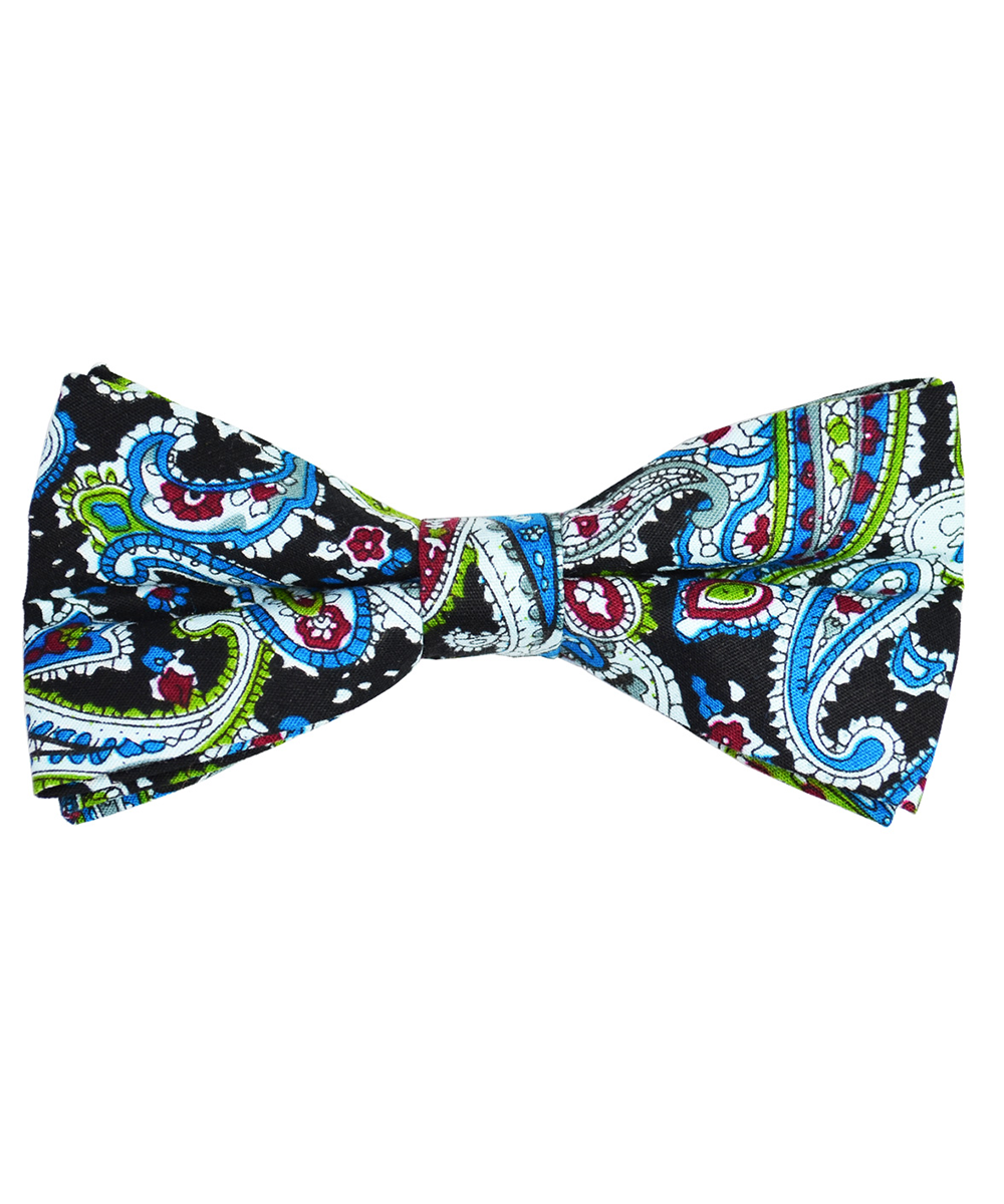 Black, Blue and Green Paisley Cotton Bow Tie - tiepassion