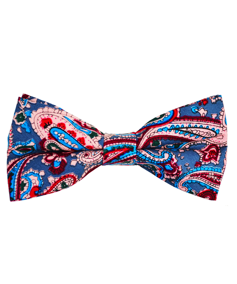 Blue and Red Paisley Cotton Bow Tie - tiepassion