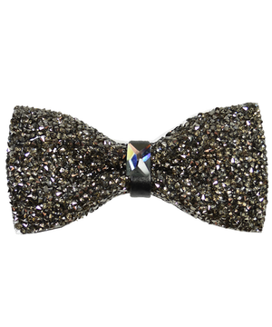 Charcoal Formal Crystal Men's Bow Tie - tiepassion
