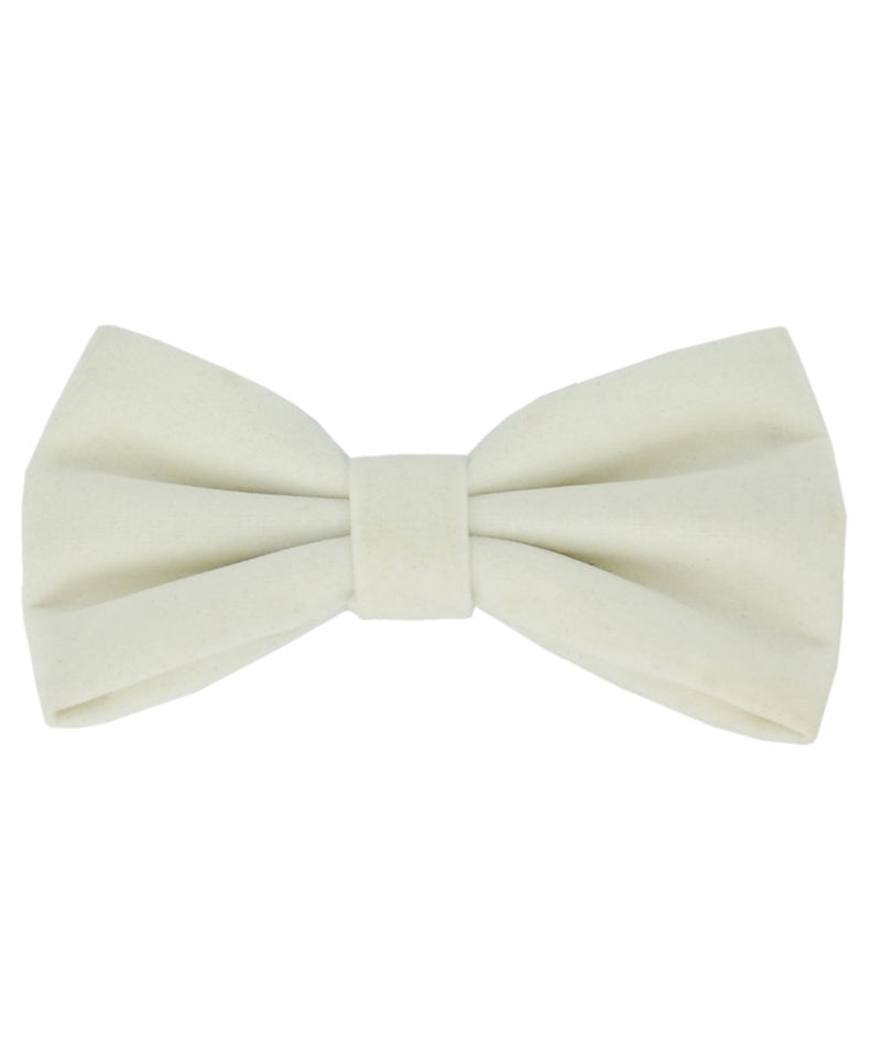 Stunning Off-White Velvet Men's Bow Tie and Pocket Square - tiepassion