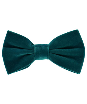 Stunning Teal Velvet Men's Bow Tie and Pocket Square - tiepassion