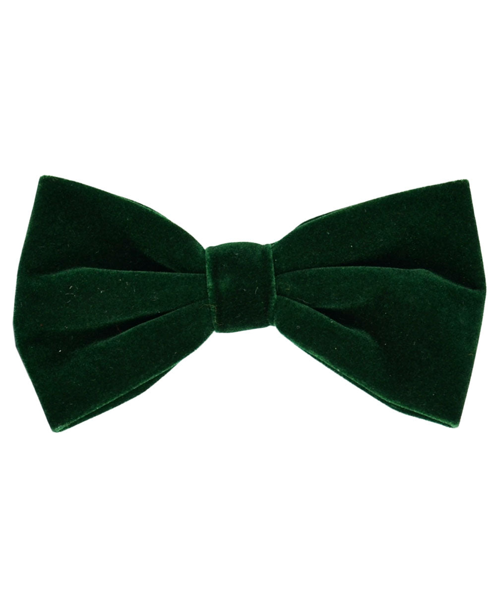 Stunning Forrest Green Velvet Men's Bow Tie and Pocket Square - tiepassion