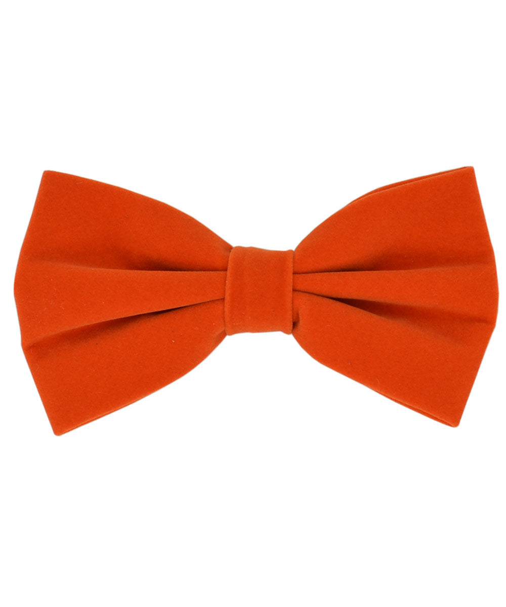 Stunning Orange Velvet Men's Bow Tie and Pocket Square - tiepassion