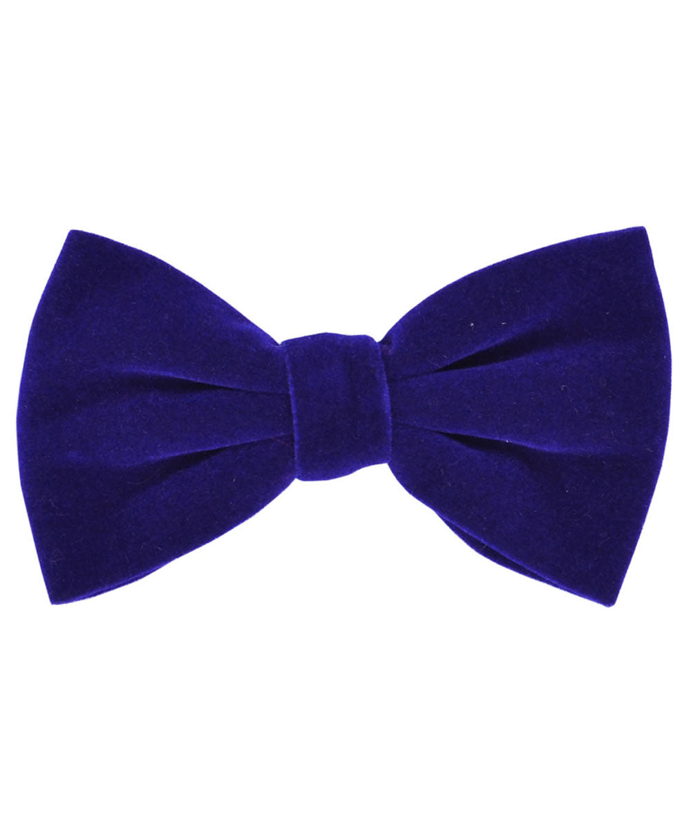 Stunning Royal Blue Velvet Men's Bow Tie and Pocket Square - tiepassion