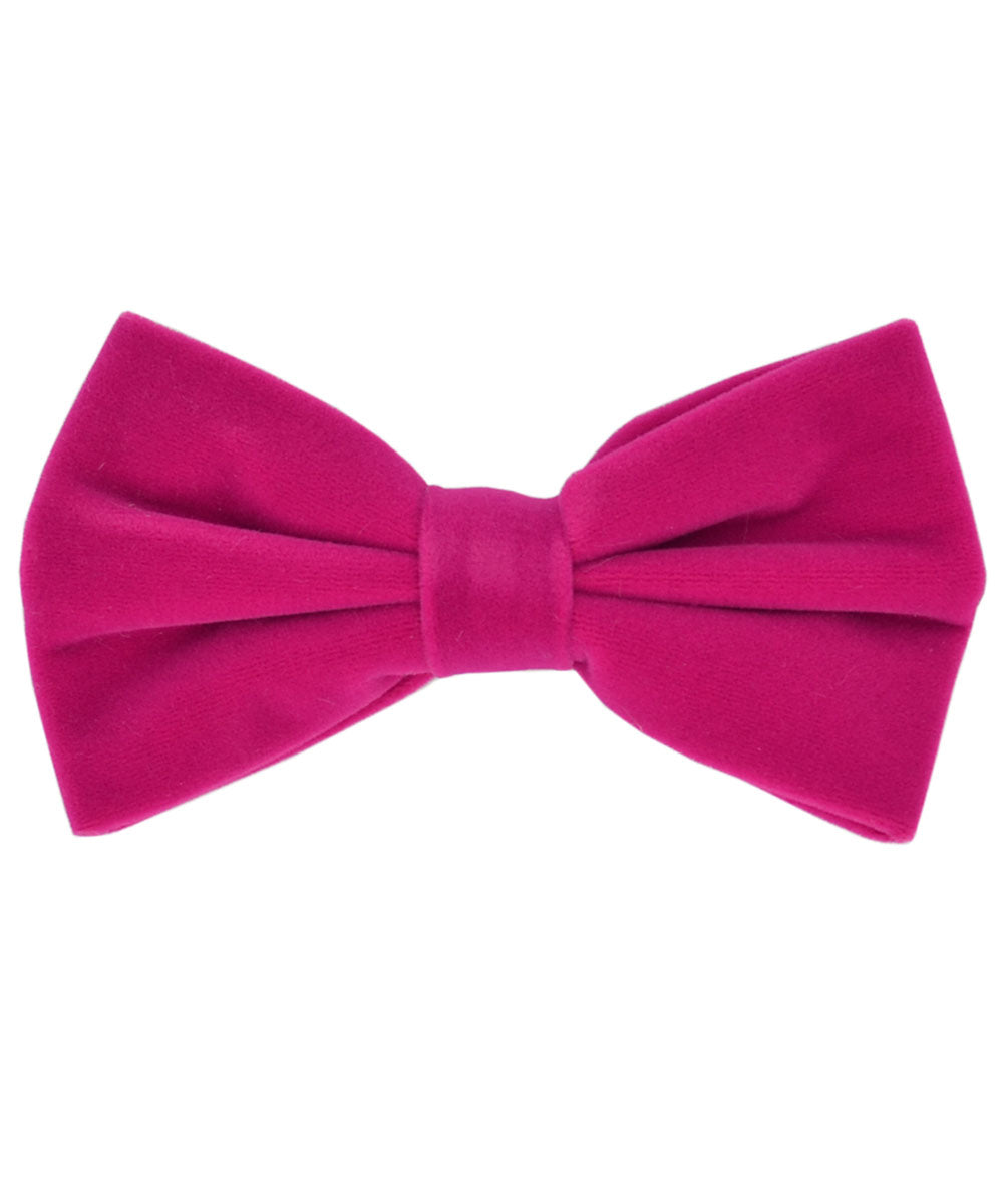 Stunning Pink Velvet Men's Bow Tie and Pocket Square - tiepassion