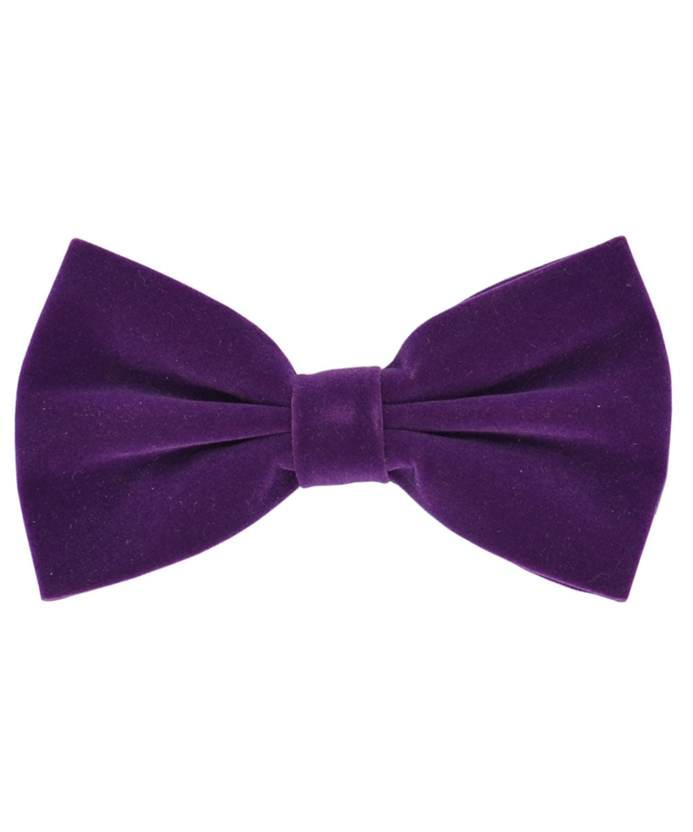 Stunning Plum Purple Velvet Men's Bow Tie and Pocket Square - tiepassion